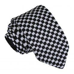 White and Black Check Knitted Slim Tie