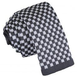 White and Grey Check Knitted Skinny Tie