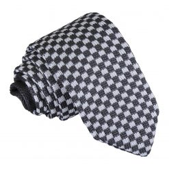 White and Grey Check Knitted Slim Tie