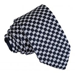 White and Navy Check Knitted Slim Tie