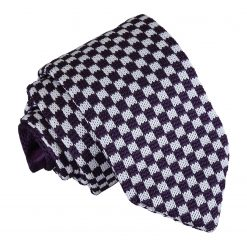 White and Purple Check Knitted Slim Tie