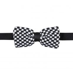 White and Black Check Knitted Pre-Tied Thistle Bow Tie