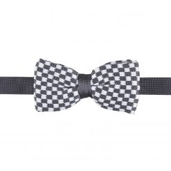 White and Grey Check Knitted Pre-Tied Thistle Bow Tie