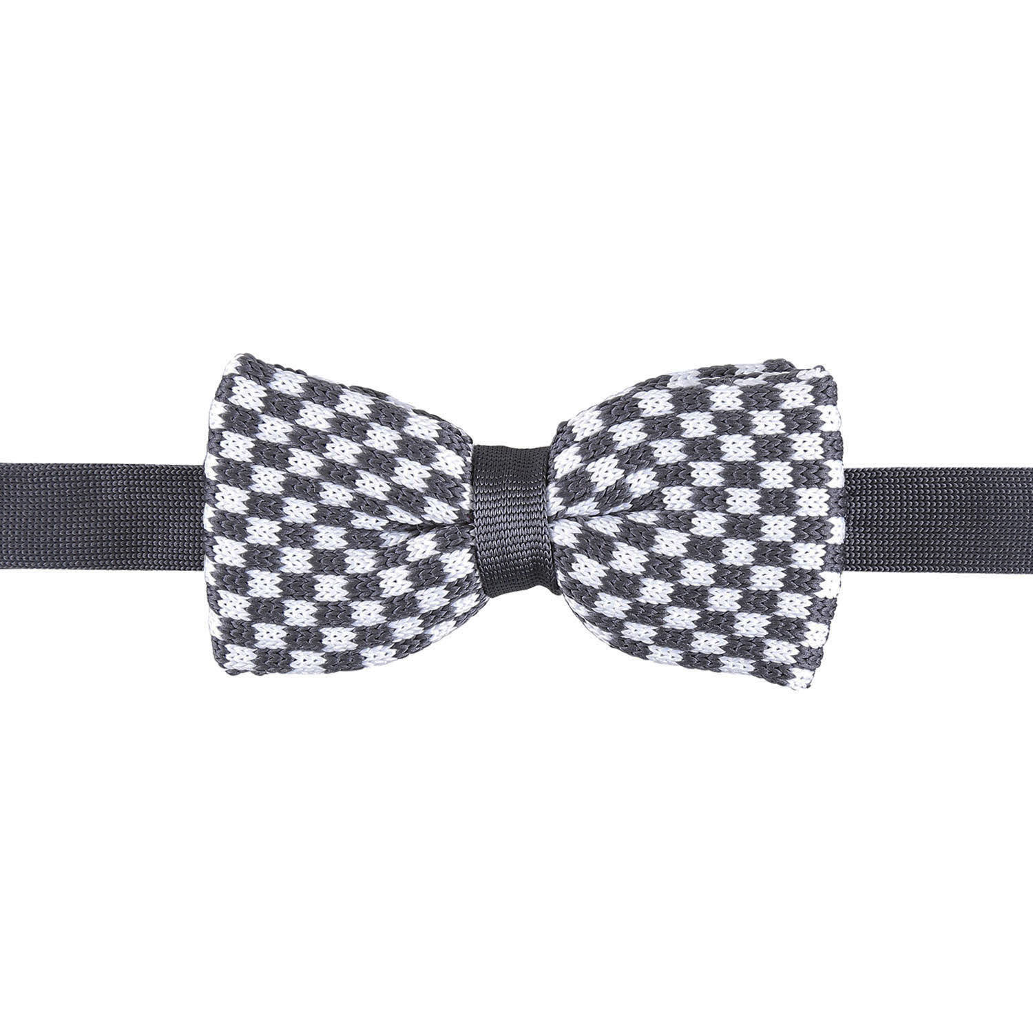 White and Grey Check Knitted Pre-Tied Thistle Bow Tie - James Alexander