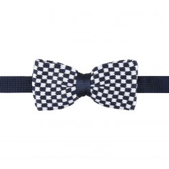 White and Navy Check Knitted Pre-Tied Thistle Bow Tie