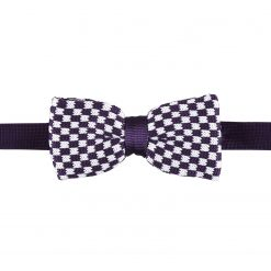 White and Purple Check Knitted Pre-Tied Thistle Bow Tie