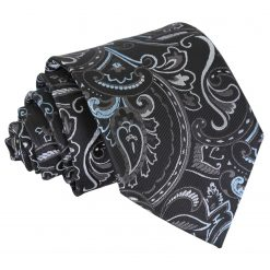 Black & Silver Cypress Paisley Classic Tie