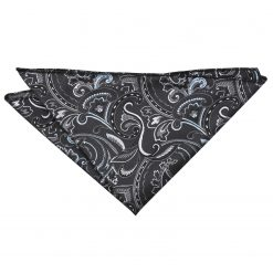 Black & Silver Cypress Paisley Handkerchief / Pocket Square