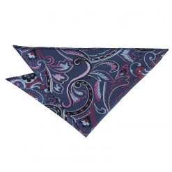 Blue & Pink Cypress Paisley Handkerchief / Pocket Square
