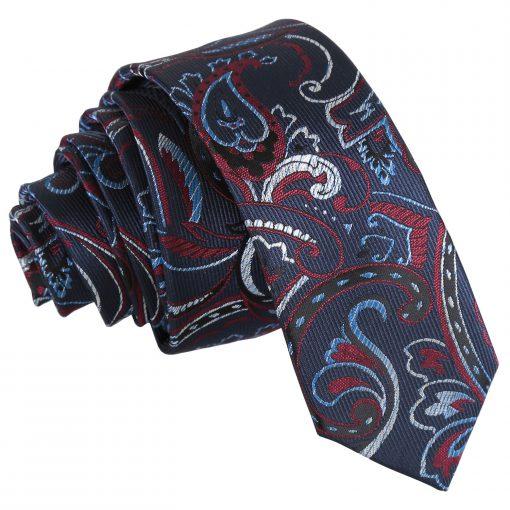 Navy & Burgundy Cypress Paisley Skinny Tie