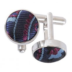 Navy & Burgundy Cypress Paisley Silver Plated Cufflinks