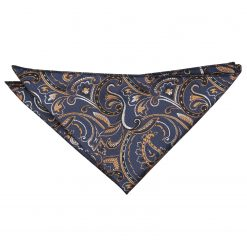 Navy & Gold Cypress Paisley Handkerchief / Pocket Square