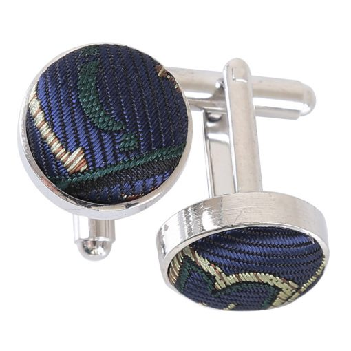 Navy & Green Cypress Paisley Silver Plated Cufflinks