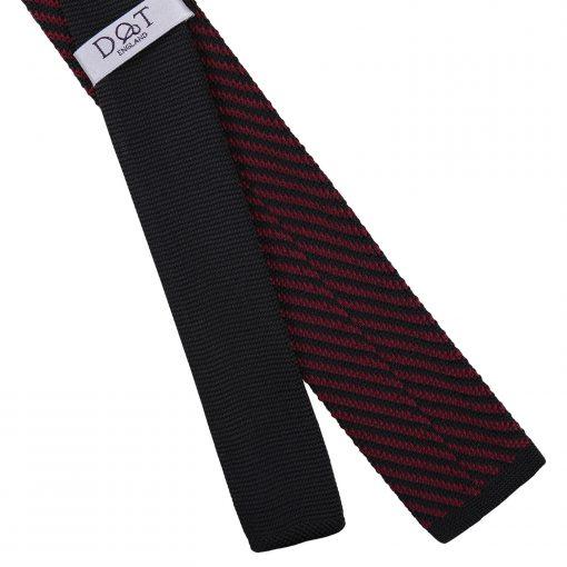 Black and Burgundy Diagonal Stripe Knitted Skinny Tie