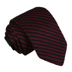 Black and Burgundy Diagonal Stripe Knitted Slim Tie