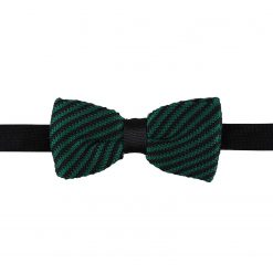 Black and Green Diagonal Stripe Knitted Pre-Tied Thistle Bow Tie