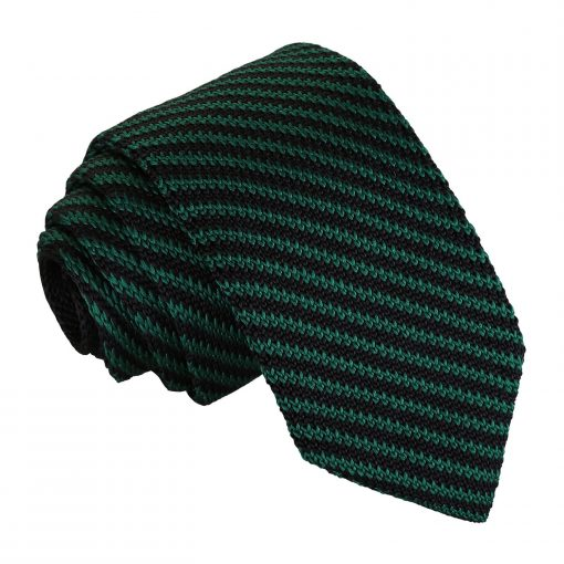 Black and Green Diagonal Stripe Knitted Slim Tie