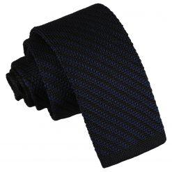 Black and Navy Diagonal Stripe Knitted Skinny Tie