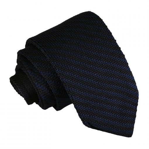 Black and Navy Diagonal Stripe Knitted Slim Tie