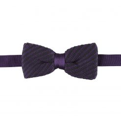 Black and Purple Diagonal Stripe Knitted Pre-Tied Thistle Bow Tie