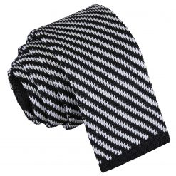 Black and White Diagonal Stripe Knitted Skinny Tie