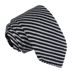 Black and White Diagonal Stripe Knitted Slim Tie