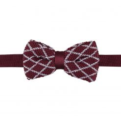 White and Burgundy Diamond Grid Knitted Pre-Tied Thistle Bow Tie