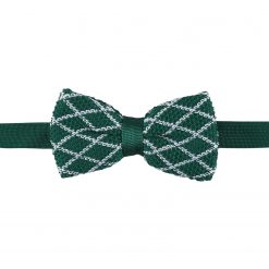 White and Olive Diamond Grid Knitted Pre-Tied Thistle Bow Tie