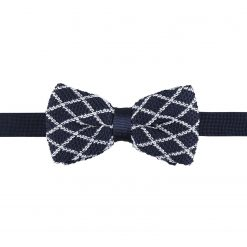 White and Navy Diamond Grid Knitted Pre-Tied Thistle Bow Tie