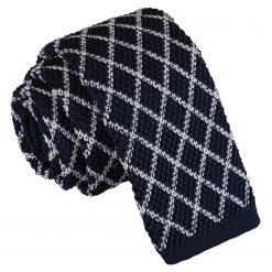 White and Navy Diamond Grid Knitted Skinny Tie