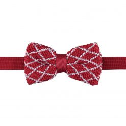 White and Red Diamond Grid Knitted Pre-Tied Thistle Bow Tie