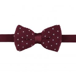 Burgundy Flecked V Polka Dot Knitted Pre-Tied Thistle Bow Tie