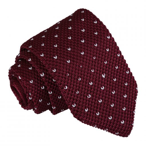 Burgundy Flecked V Polka Dot Knitted Slim Tie