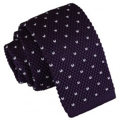 Cadbury Purple Flecked V Polka Dot Knitted Skinny Tie