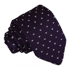 Cadbury Purple Flecked V Polka Dot Knitted Slim Tie