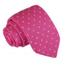 Dark Fuchsia Flecked V Polka Dot Knitted Slim Tie