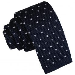 Midnight Blue Flecked V Polka Dot Knitted Skinny Tie