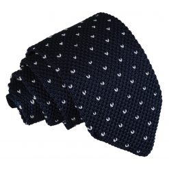 Midnight Blue Flecked V Polka Dot Knitted Slim Tie