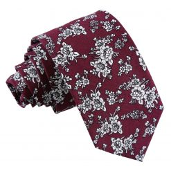 Burgundy Floral Daphne Cotton Slim Tie