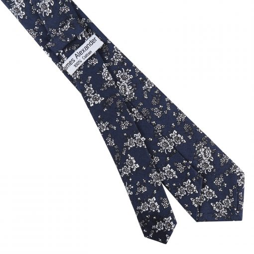 Navy Blue Floral Daphne Cotton Slim Tie