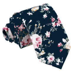 Midnight Blue Floral Primrose Cotton Slim Tie