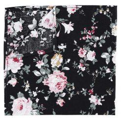 Black Floral Primrose Cotton Pocket Square