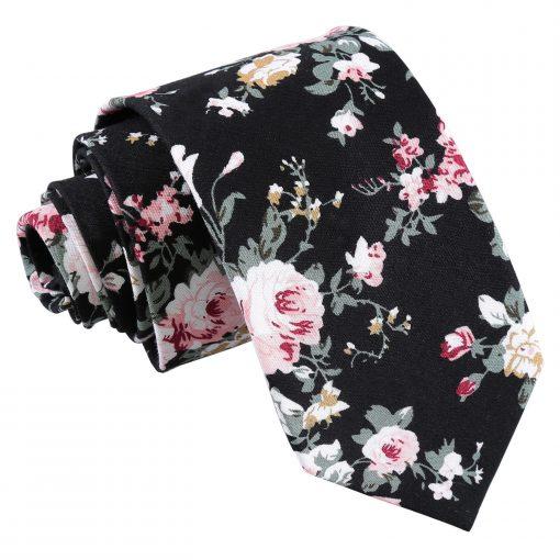 Black Floral Primrose Cotton Slim Tie