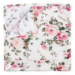 Ivory Floral Primrose Cotton Pocket Square