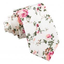 Ivory Floral Primrose Cotton Slim Tie