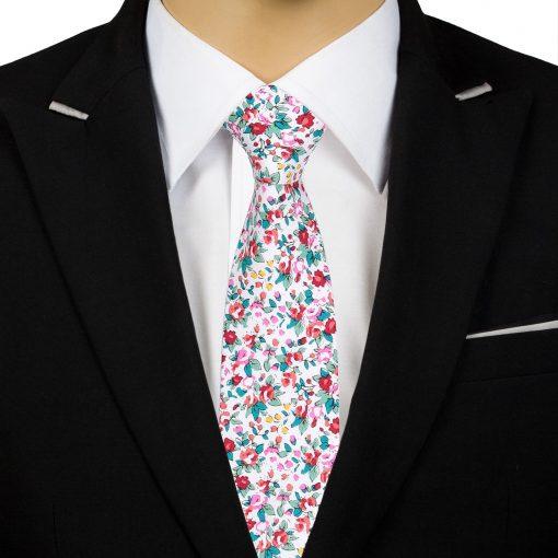 Burgundy Floral Sage Cotton Slim Tie