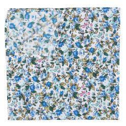 Royal Blue Floral Sage Cotton Pocket Square