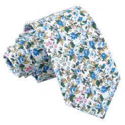Royal Blue Floral Sage Cotton Slim Tie