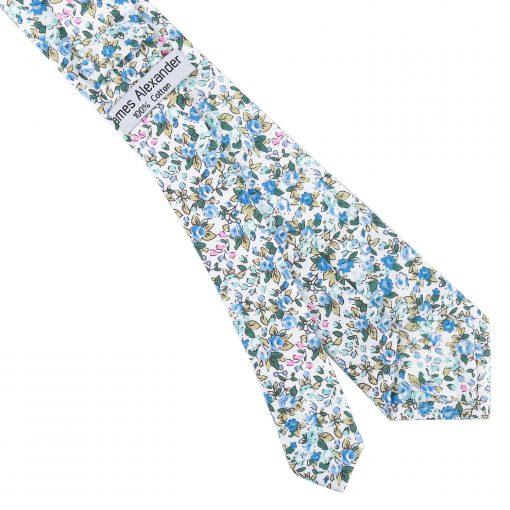Royal Blue Floral Sage Cotton Slim Tie