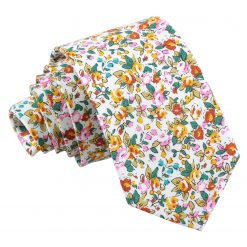 Yellow Floral Sage Cotton Slim Tie